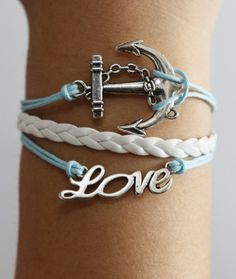 Anchor love silver braided white leather by kahdtfggeg on Etsy