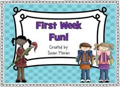 first week ideas - school rule writing, all about me, find someone who..., summer story, etc.
