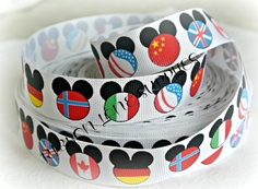 Ribbon by the Yard MOUSE HEADWorld Flags by RibbonLaneSupplies, $1.15