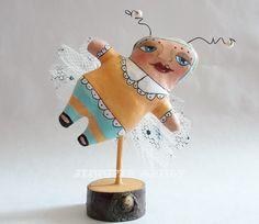 Original Modern Folk Art  Doodle Bug Hand Painted Soft Sculpture Doll Peach. $32.00, via Etsy.