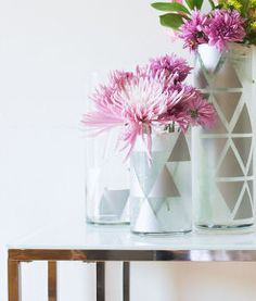 diy glass cups decal geometric vase