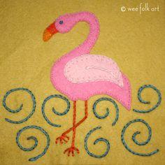 Flamingo Applique Block | Wee Folk Art