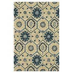 Hand-hooked wool rug with a floral motif.  Product: RugConstruction Material: 100% WoolColor: Ivory a...5 x7  $206