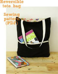 Reversible tote bag sewing pattern (PDF) instant download tote bags, bag patterns, sew bag pattern, sewing patterns