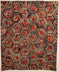 "Wool Spiderweb Log Cabin Quilt Circa 1870; measures 70"" x 84""; Pennsylvania origin"