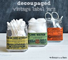 decoupage labels on spice jars | bathroom organization