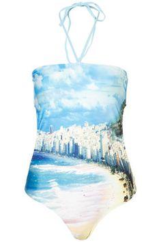 fashion, blue rio, style, one piece swimsuits, rio de janeiro, rio print, prints, blues, topshop