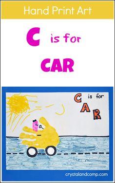 Hand Print Art: C is for Car for Preschoolers  #preschool #kidscraft #handprint