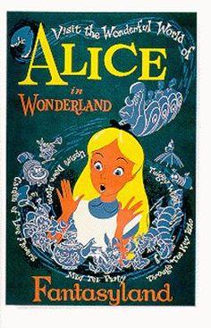 vintage alice in wonderland poster - fantasyland, disneyland