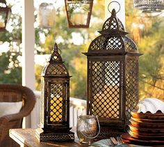 metal, candle holders, candles, patio, moroccan style, barns, moroccan decor, lanterns, pottery barn