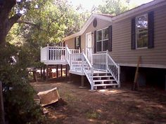 Double Wide with attached deck from Mobile Home Living #deck