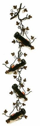 Four Bottle Wall/Ceiling Wine Holder w/Grape Leafs