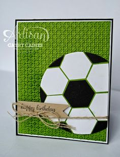 handmade greeting card ... In The Cat Cave: Happy Birthday Husband! ... black and white hexagons arranged in a circle form a soccer ball ... lattice embossed green background grass ... twine and a kraft tag ... great graffic lines ... Stampin' Up!