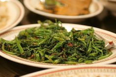 Water Spinach with Dired Shrimp, Thai Style | Shrimp and oyster sauce enhance the flavor of this vegetable dish. #spinach #veggies #Thai #recipes
