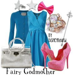Fairy Godmother Inspired Outfit by DisneyBound. #disney #fashion #accessories