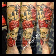 Skulls and Roses Tattoo by LondonTattooArtist