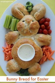 Bunny Bread for Easter. We added a dip bowl and veggies and made him a veggie tray.
