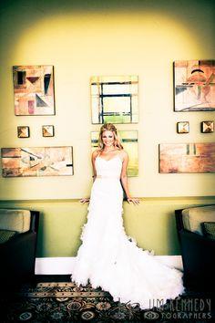 Gorgeous bride at the Waterfront Beach Resort Hilton in Huntington Beach   Jim Kennedy Photographers