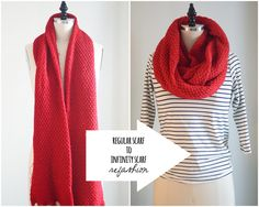 Infinity Scarves > Regular Scarves. Update your old scarves with this super easy 3 step tutorial!