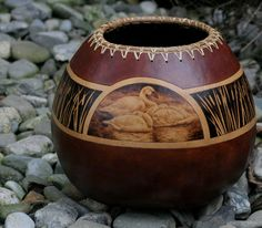 Tundra Swan Gourd Vase pyrography jenn averi, gourd art, craft, vase pyrographi, gourd vase, carv, swan gourd
