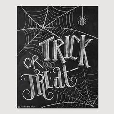 Trick Or Treat Sign - Halloween Chalkboard Art - Halloween Decor -Black and White Halloween -Halloween Art - 8x10 Print