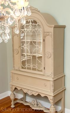 Salvaged Inspirations | Annie Sloan's 'Country Grey' & 'Old White' Chalk Painted China Cabinet