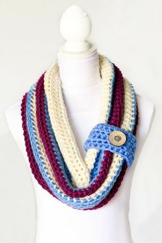 Chunky Button Cowl Crochet Pattern via Hopeful Honey