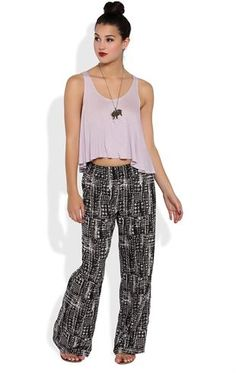 Deb Shops distressed all over print smocked waistband palazzo pant $16.50