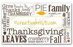 Subway Art Placecards for Thanksgiving