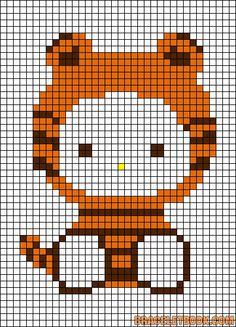 Free Hello Kitty in Tiger Costume Hama Perler Bead Pattern or Cross Stitch Chart