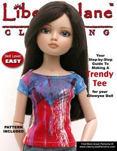 Free T-Shirt Pattern for Ellowyne Dolls libertyjanepatterns.com