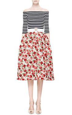 Natasha Zinko Midi Striped Dress With Florals Skirt