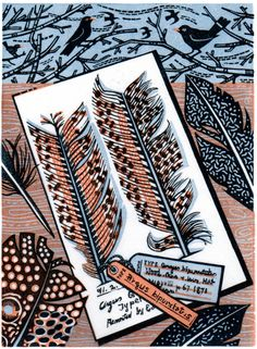 """Angie Lewin's """"Drawing At The Museum"""" wood engraving"""