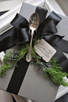 holiday, food gifts, giftwrap, add vintag, packag, christmas gift wrapping, vintag flatwar, christmas wrapping, christmas gifts