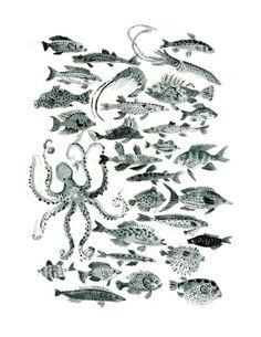 Fish Print by Vikachu on Etsy, $20.00