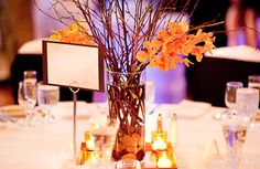Fall wedding centerpieces using branches