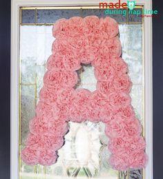 Carnation POM POM Monagram decoration DIY