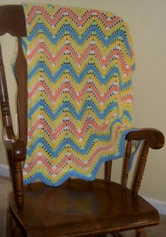 Crochet Striped Ripple Blanket ... READY TO by sweetpeacollections, $35.00