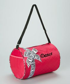 Another great find on #zulily! Hot Pink Zebra Bow 'Dance' Duffel Bag #zulilyfinds