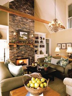 stacked stone fireplace wall.