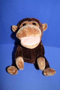 "Russ stuffed animal monkey Montague brown plush puppet sound ape 10"" toy"