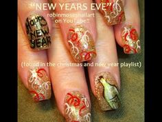 New Years Eve Nail Art - Gold Red White Bling