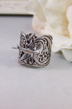 Gypsy's Saprrow,Ring,Silver,Bird,Sparrow,Antique Ring,Silver Ring,Bird Ring,Woodland,Wedding,Handmade jewelery by valleygirldesigns. on Etsy, $22.00
