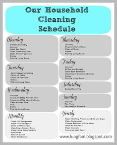 House Cleaning Schedule Printable (via the lung family)
