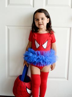Spider Girl Tutu Bodysuit Superhero Costume Toddler Baby Girl Halloween- Sizes 0-24 Months. $34.00, via Etsy.