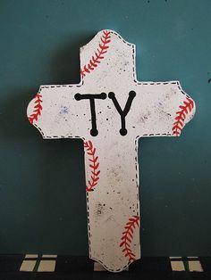 Boy's room baseball cross