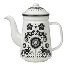 Gorgeous white enamel coated tea/coffee pot with pretty folklore design in black. Featuring birds, foxes and folksy floral design.