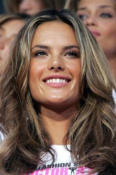 Brown Highlight Hairstyles with Long Layer Hair for Women from Alessandra Ambrosio