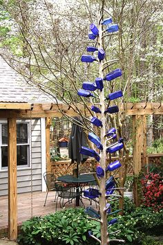 Preserved Cedar & Blue Bottle Tree blue bottle tree, cedar tree, preserv cedar, yard art, bottle trees, bottl garden, bottles, bottl tree, blues