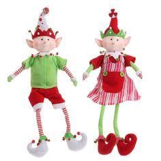 RAZ Gumdrops and Jellybeans 14 Inch Sitting Elf Pair